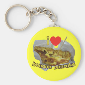 I Love (Heart) Banana Pancake ... Thai Street Food Basic Round Button Keychain
