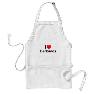 I Love Heart Barbados Adult Apron
