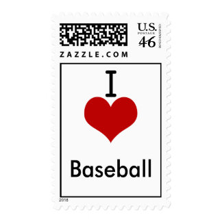 I Love heart Baseball Postage Stamps