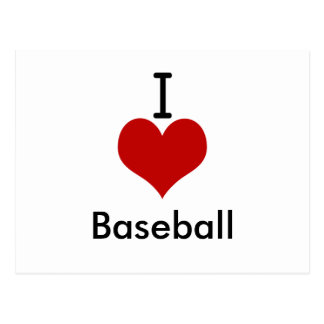 I Love (heart) Baseball Postcard