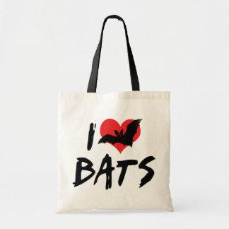 I Love Heart Bats Tote Bag