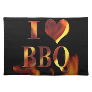 I Love (heart) BBQ placemat
