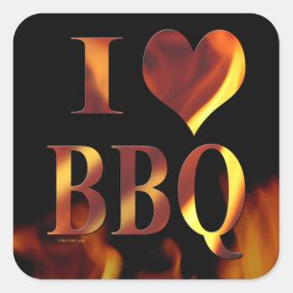 I Love (Heart) BBQ Square Sticker