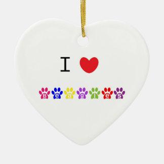 I love heart beagles dog heart ornament, gift idea ceramic ornament