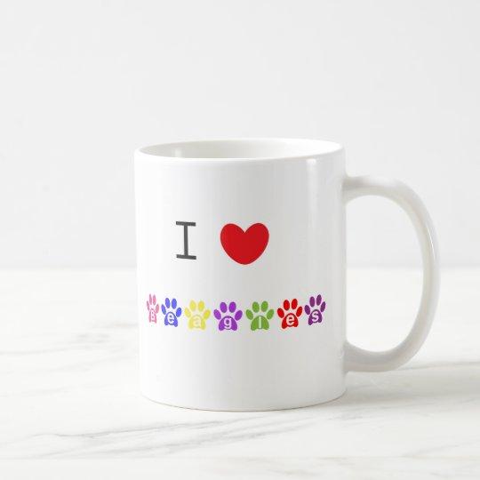 I love heart beagles dog mug, present idea coffee mug