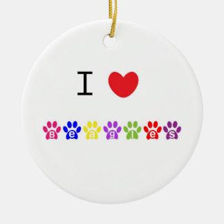 I love heart beagles dog ornament, present idea ceramic ornament