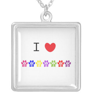 I love heart beagles dog pawprint necklace, gift square pendant necklace