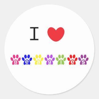 I love heart beagles dog stickers, present idea classic round sticker