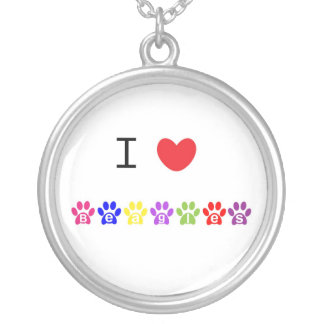 I love heart beagles pawprint necklace