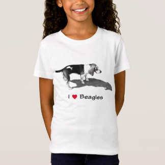 I Love (Heart) Beagles: Pencil Drawing, Realism T-Shirt