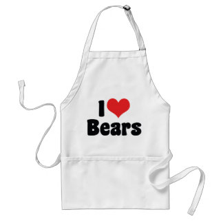 I Love Heart Bears Adult Apron