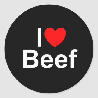I Love (Heart) Beef Classic Round Sticker