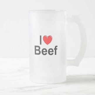 I Love (Heart) Beef Frosted Glass Beer Mug
