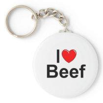 I Love (Heart) Beef Keychain