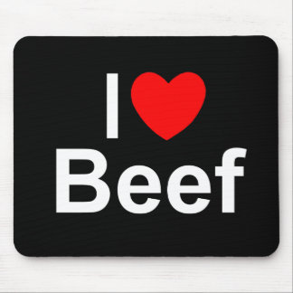 I Love (Heart) Beef Mousepads
