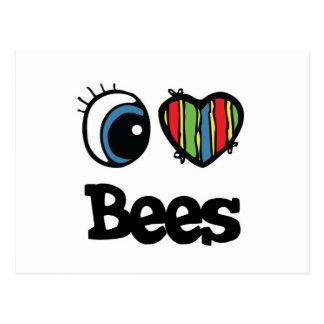 I Love (Heart) Bees Postcard