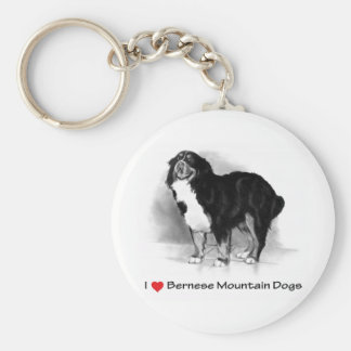 I Love (Heart) Bernese Mountain Dogs Keychain