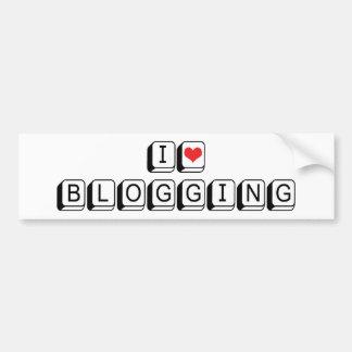 I Love Heart Blogging Bumper Sticker