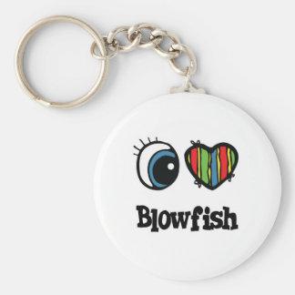 I Love (Heart) Blowfish Key Chain