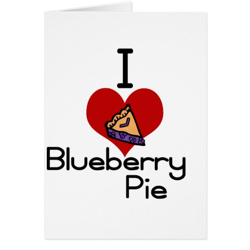 I love-heart blueberry pie greeting card