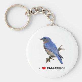 I Love (heart) Bluebirds Keychain