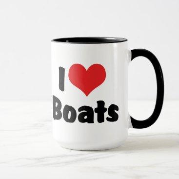 Valentines Themed I Love Heart Boats - Boating Sailing Boat Lover Mug
