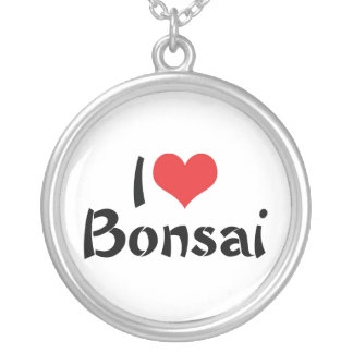 I Love Heart Bonsai - Japanese Tree Art Lover Silver Plated Necklace