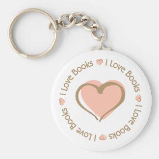 I Love Heart Books Keychain