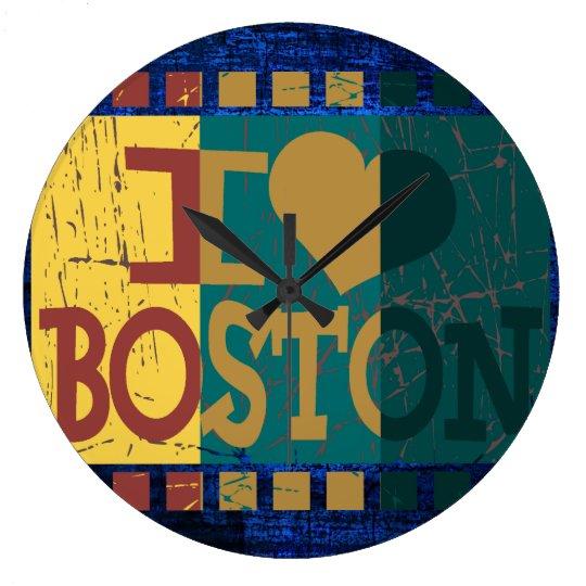 I love (heart) Boston - Vintage Boston 2 Large Clock