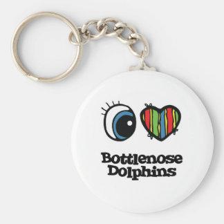 I Love (Heart) Bottlenose dolphins Keychain