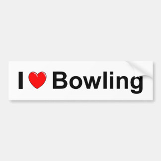 I Love Heart Bowling Bumper Sticker
