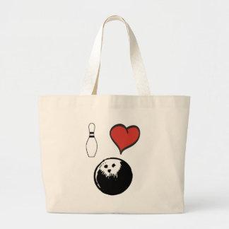 I Love (heart) Bowling Large Tote Bag