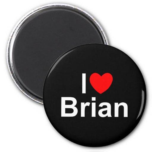 I Love (Heart) Brian 2 Inch Round Magnet