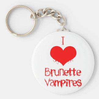 I Love (heart) Brunette Vampires Basic Round Button Keychain