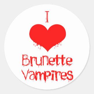 I Love (heart) Brunette Vampires Classic Round Sticker
