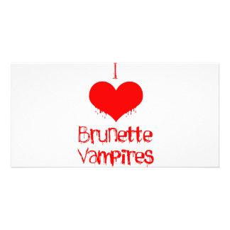 I Love heart Brunette Vampires Picture Card