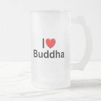 I Love (Heart) Buddha Frosted Glass Beer Mug