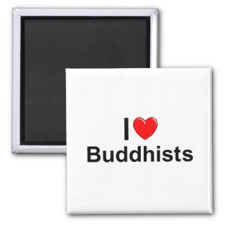 I Love (Heart) Buddhists 2 Inch Square Magnet