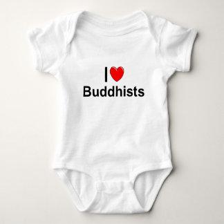 I Love (Heart) Buddhists Baby Bodysuit