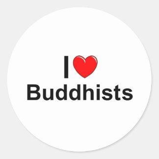 I Love (Heart) Buddhists Classic Round Sticker