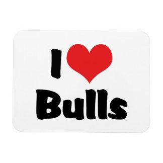 I Love Heart Bulls Rectangular Photo Magnet