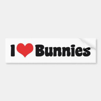 I Love Heart Bunny Rabbits Bumper Sticker