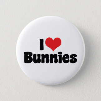 I Love Heart Bunny Rabbits Button