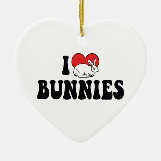 I Love Heart Bunny Rabbits Ceramic Ornament
