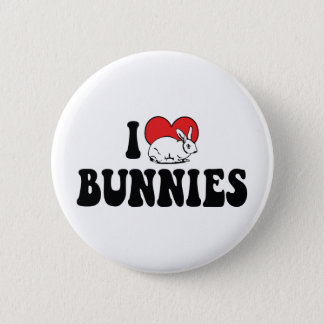 I Love Heart Bunny Rabbits Pinback Button