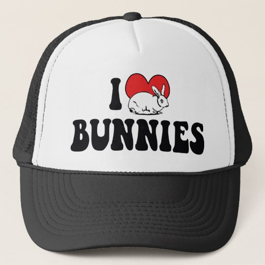 I Love Heart Bunny Rabbits Trucker Hat