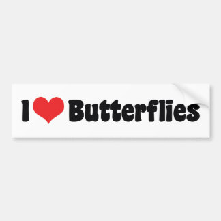 I Love Heart Butterflies - Butterfly Lover Bumper Sticker