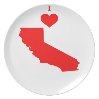 I Love (Heart) California Dinner Plate
