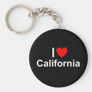 I Love (Heart) California Basic Round Button Keychain