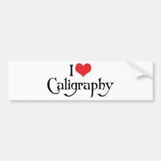 I Love Heart Calligraphy Bumper Sticker